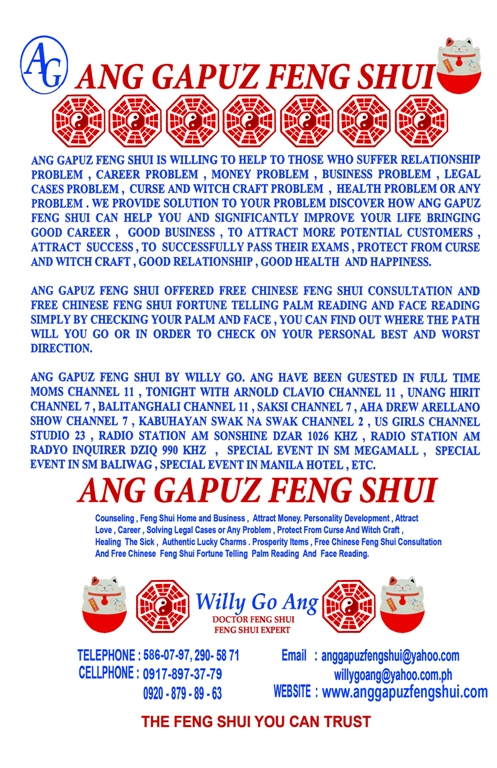 Category: Manghuhula - PHILIPPINE FENG SHUI MR  ANG - OFFER FREE